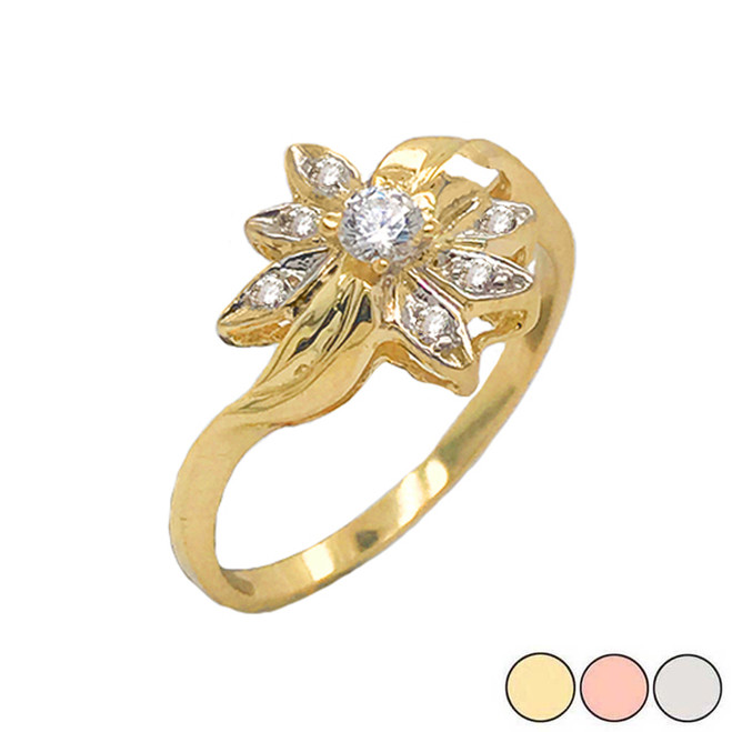 Diamond Daisy Flower Statement Ring in Gold (Yellow/Rose/White)