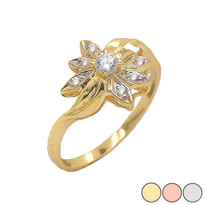 Diamond Daisy Flower Statement Ring in Gold (Yellow/Rose/White)
