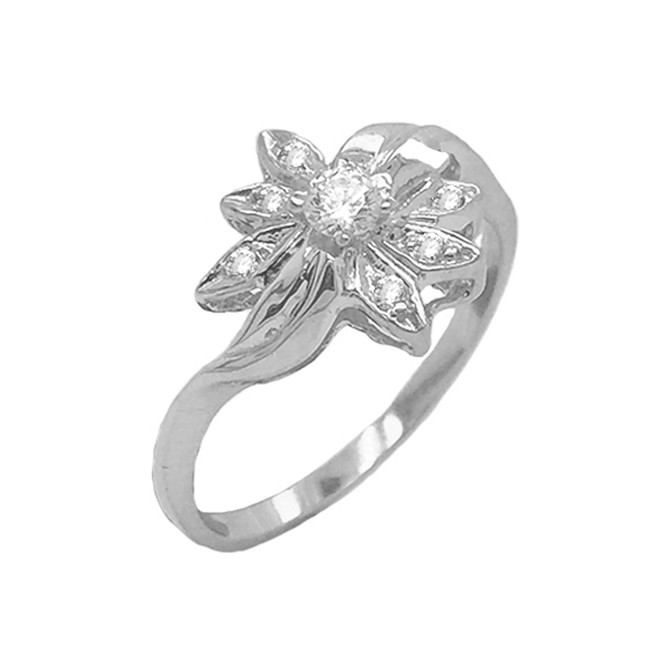 Diamond Daisy Flower Statement Ring in Sterling Silver