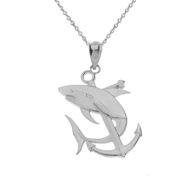 Anchor With Shark Sterling Silver Pendant Necklace