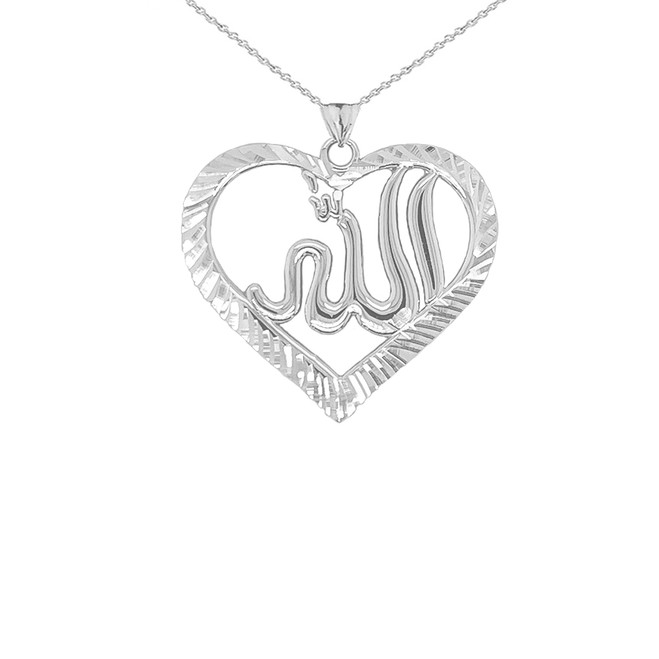 Sparkle-cut Allah Open Heart Pendant Necklace in Sterling Silver