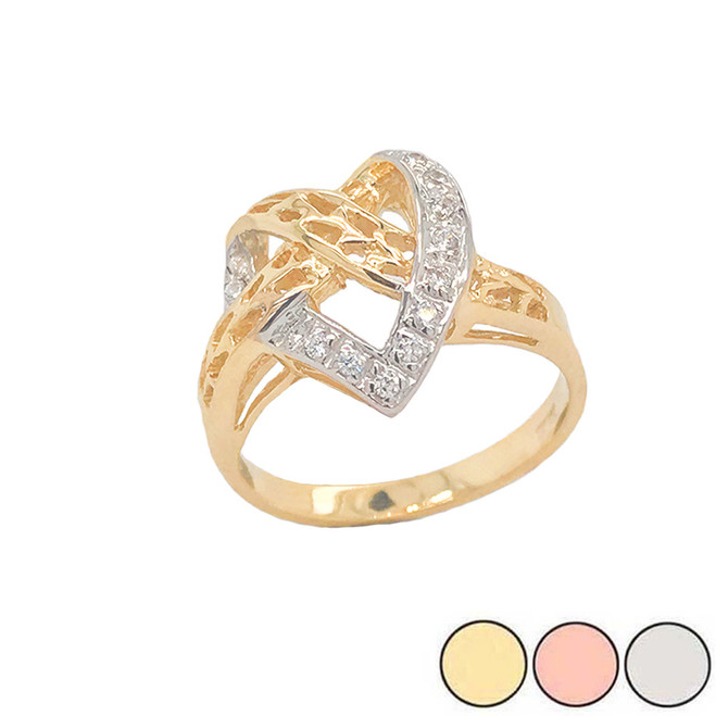 Diamond 11-Stone Crossed Heart Ring in Gold (Yellow/Rose/White)