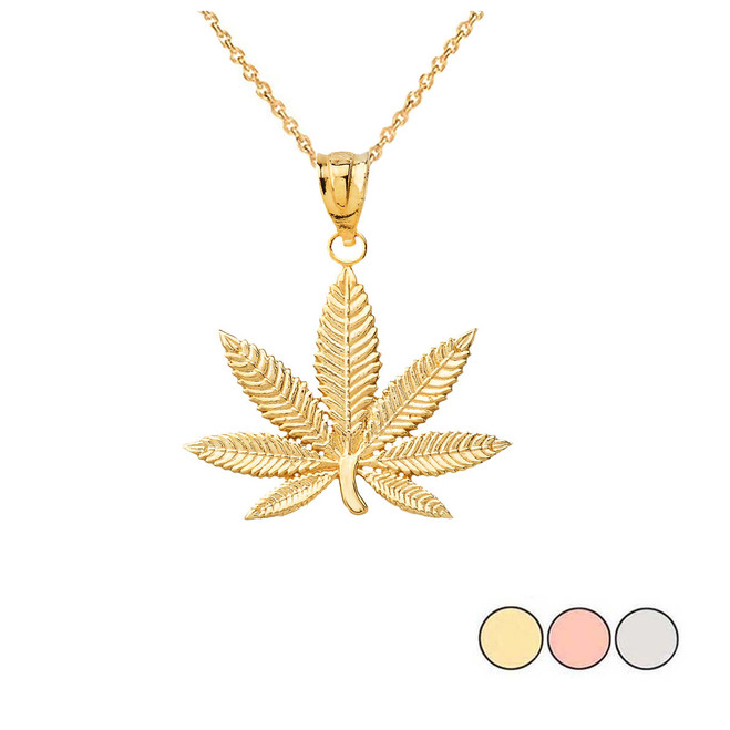 Marijuana Leaf Cannabis Pendant in Gold(Yellow/Rose/White)