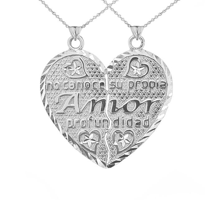 Poema de Amor Breakable Double-Sided Heart Pendant in Sterling Silver