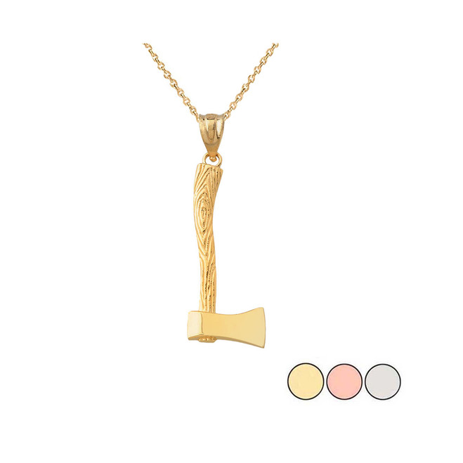 Axe Charm Pendant Necklace in Solid Gold (Yellow/Rose/White)