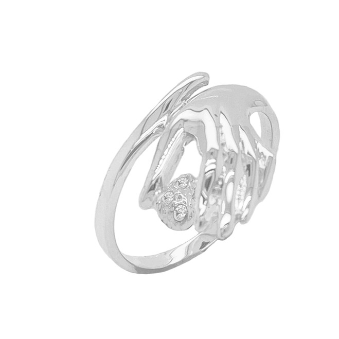 Hand holding Diamond Stones on Heart Ring in Sterling Silver