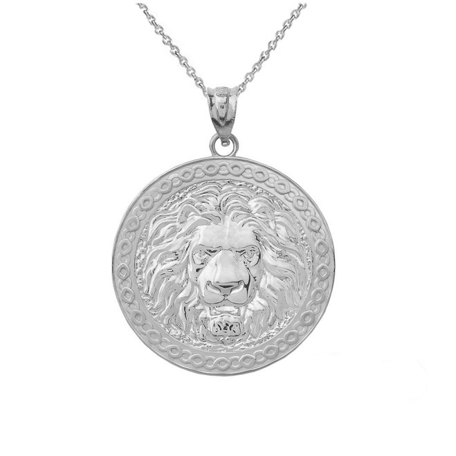 Lion Head medallion Pendant Necklace in .925 Sterling Silver