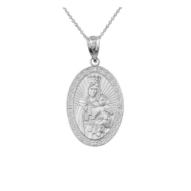 Virgen Del Carmen Pendant Necklace in Sterling Silver