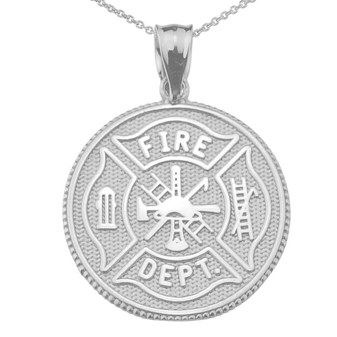 LARGE US FIREFIGHTER MALTESE CROSS DOUBLE-SIDED PRAYER COIN PENDANT NECKLACE in Sterling Silver