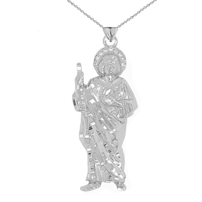 Diamond Saint Jude Pendant Necklace in Sterling Silver