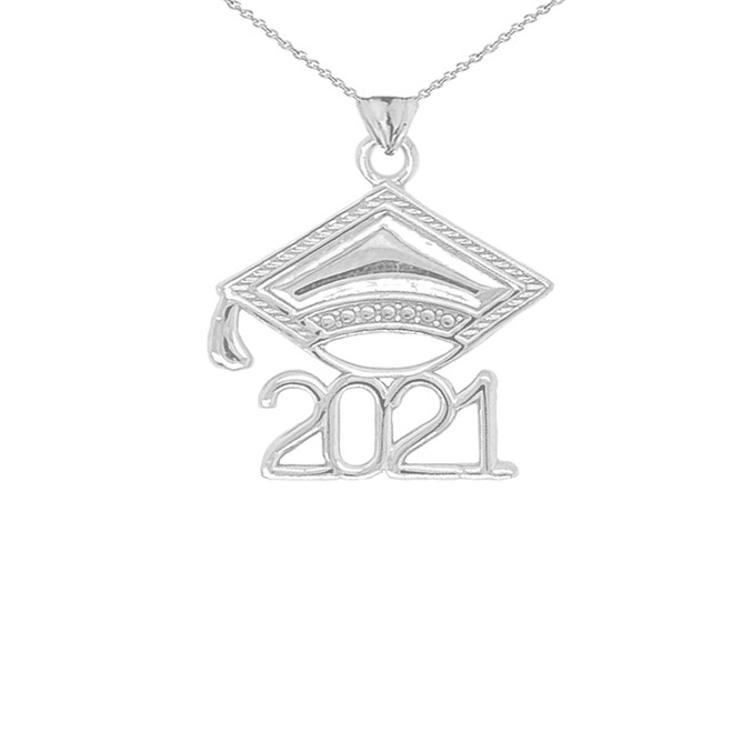 2021 Graduation Cap Pendant Necklace in Sterling Silver