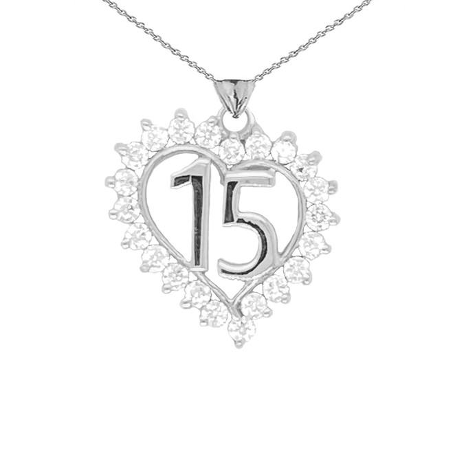 15 Quinceañera Pendant Necklace In Sterling Silver