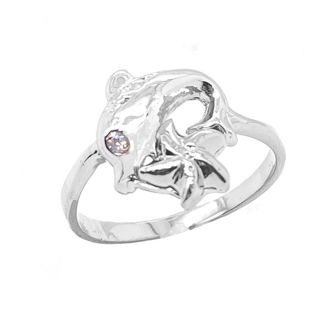 Sea Life Dolphin and Star Fish Ring in Sterling Silver