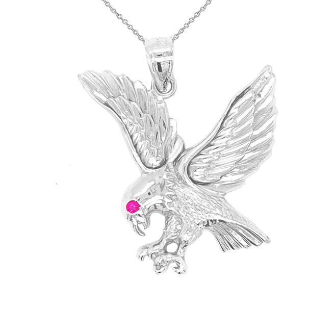 Eagle Charm Pendant Necklace in Sterling Silver
