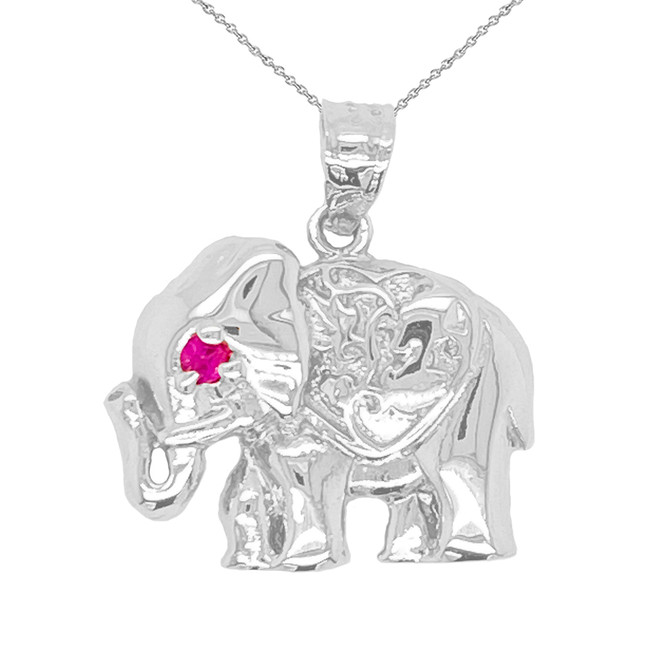 Elephant Charm Pendant Necklace in Sterling Silver