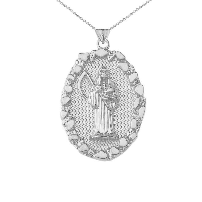 Santa Muerte Pendant Necklace in Nugget Sterling Silver
