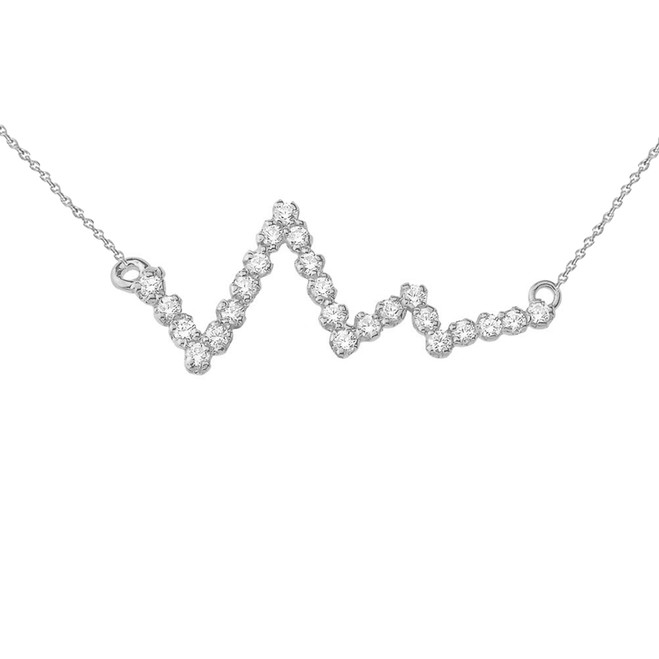 Diamond Heart Beat Necklace in Sterling Silver