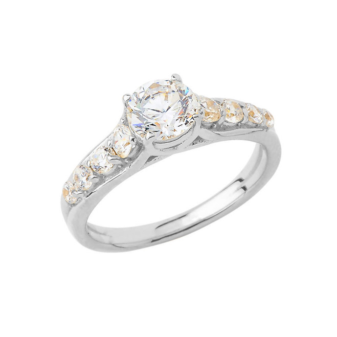 Round Sidestone Engagement Ring in Sterling Silver