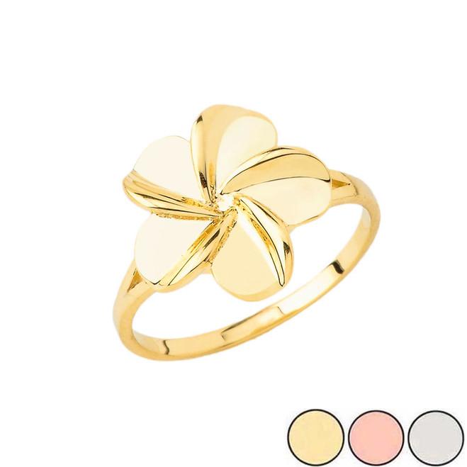 Hawaiian Plumeria Ring in Gold (Yellow/Rose/White)