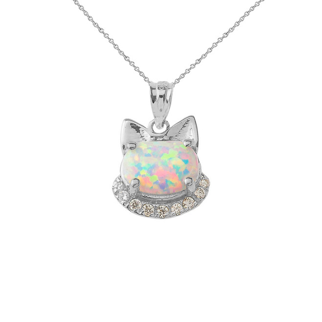Simulated Opal kitty Pendant Necklace in Sterling Silver