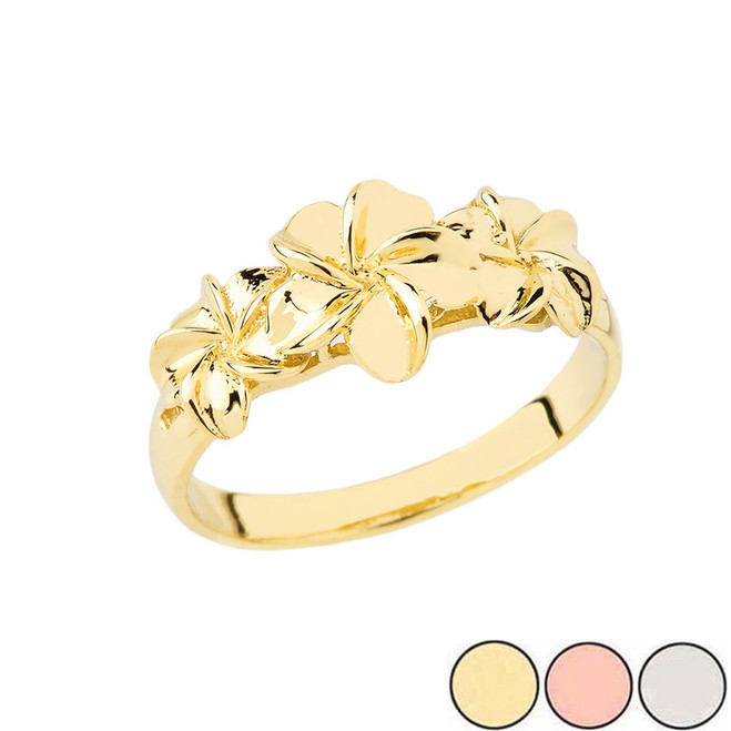 Triple Hawaiian Plumeria Flowers Ring in Gold (Yellow/Rose/White)