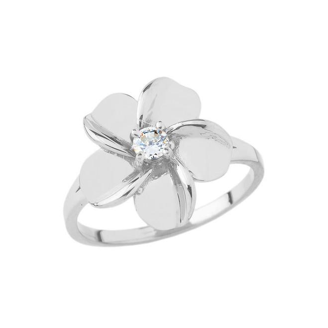 Hawaiian Plumeria Flower Ring in Sterling Silver
