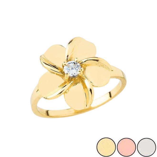 Diamond Hawaiian Plumeria Flower Ring in Gold (Yellow/Rose/White)