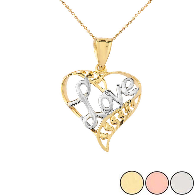 Solid-Two Toned-Yellow White-Gold-heart-love-Pendant-Necklace