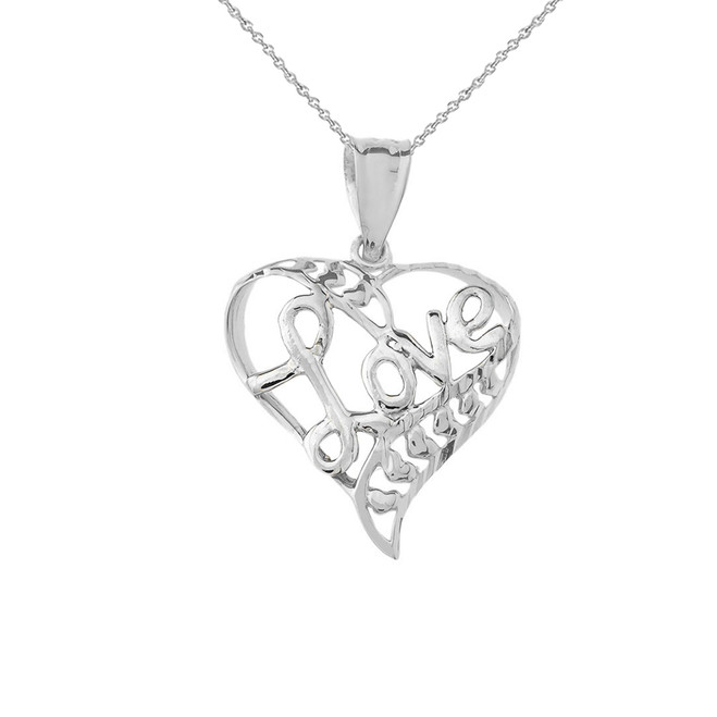"Sparkle-Cut Open Heart ""Love"" Pendant Necklace in Sterling Silver"