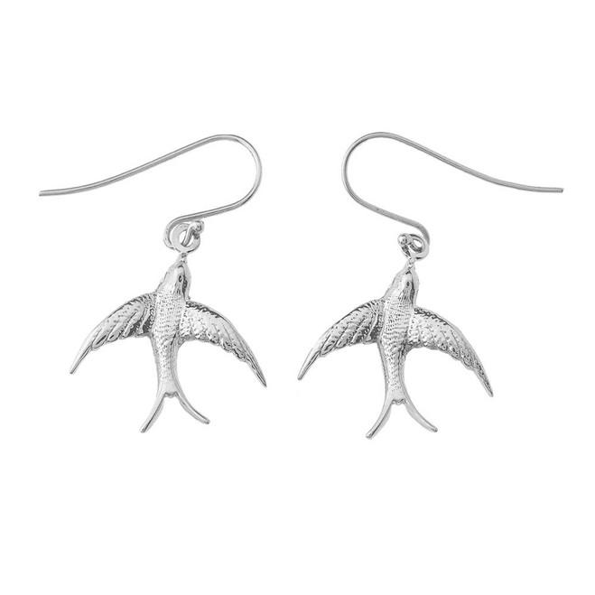 Swallow-Tailed Kite Bird Earrings In Sterling Silver