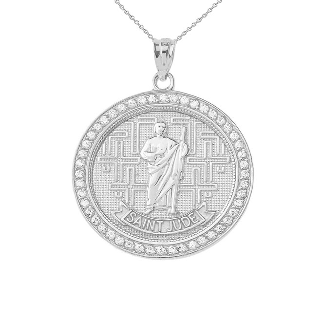 Saint Jude medallion Pendant Necklace in Sterling Silver