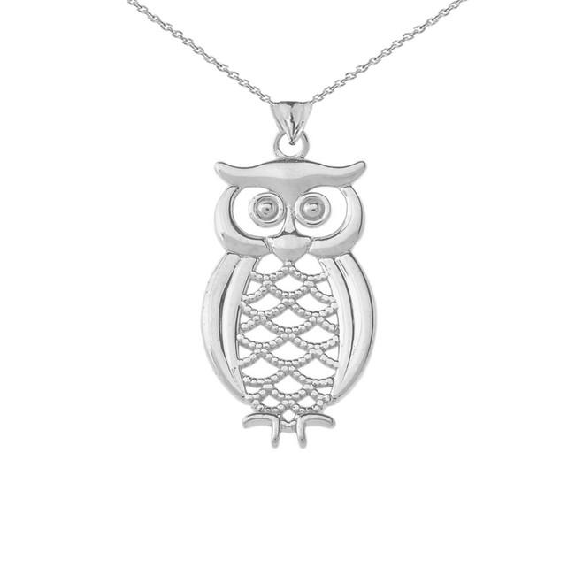 Designer Owl Pendant Necklace In Sterling Silver