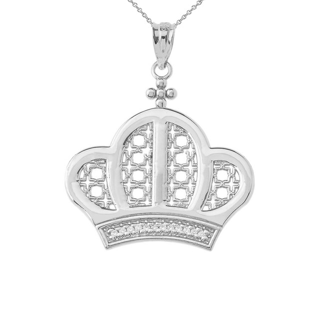 Royal Crown Pendant Necklace In Sterling Silver