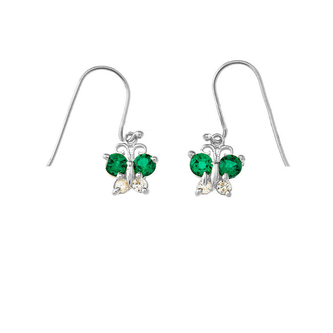 Mini Butterfly with Green Birthstone Earrings in Sterling Silver