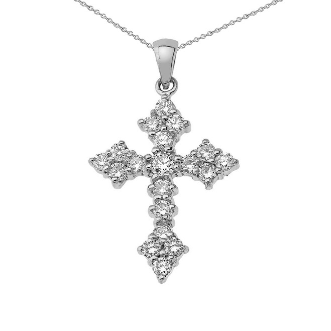 Diamond Cross Pendant Necklace in Sterling Silver