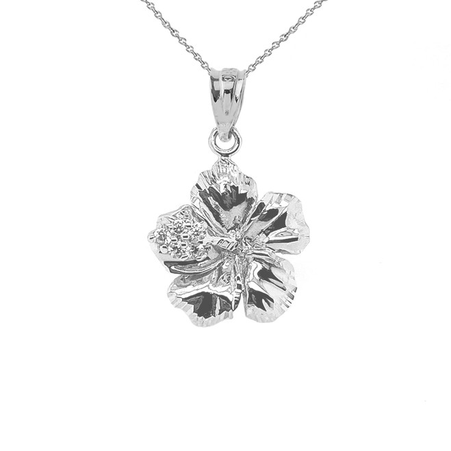 Diamond Caribbean Hibiscus Dainty Pendant Necklace In Sterling Silver