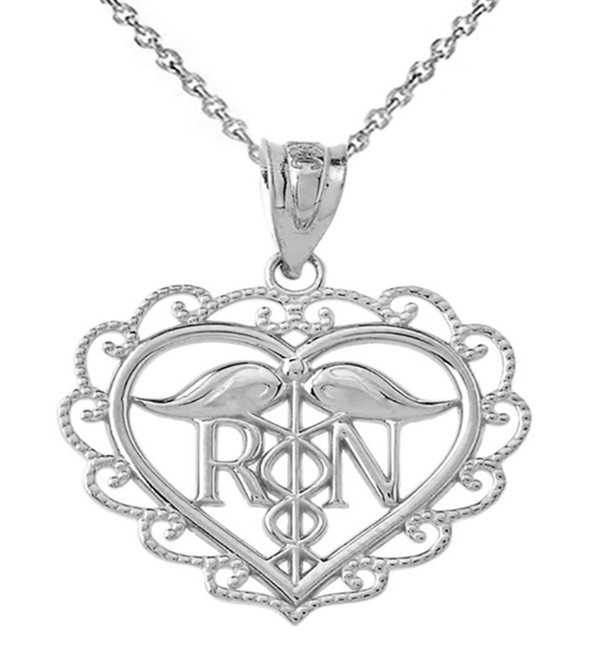 Heart Registered Nurse in Sterling Silver pendant Necklace