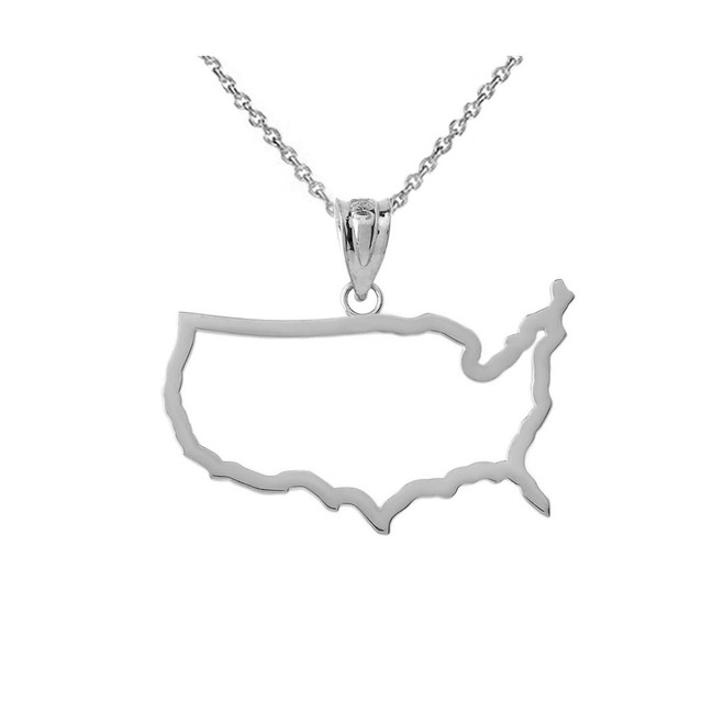 United States Of America Outline Pendant Necklace in Sterling Silver