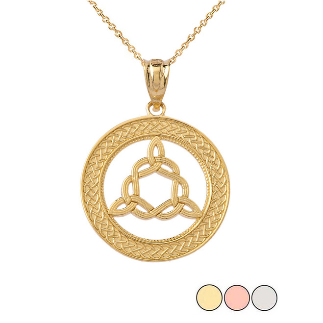Trinity Knot Medallion Pendant Necklace in Gold (Yellow/Rose/White)