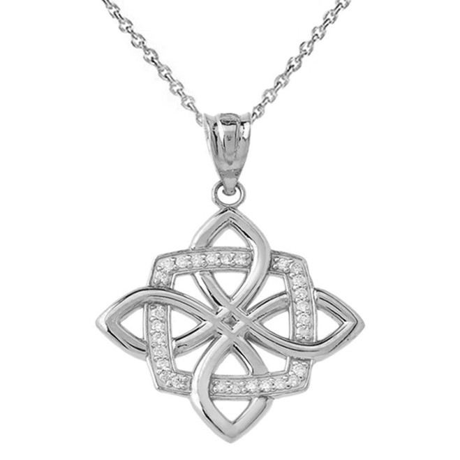 Quaternary Celtic knot Pendant Necklace in Sterling silver