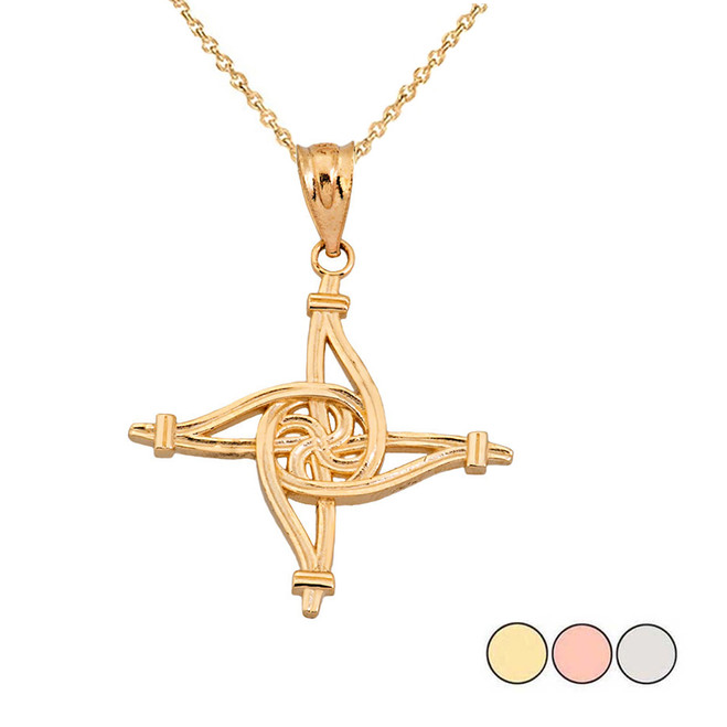 Saint Brigid's Eternity Wall Cross in Gold (Yellow/Rose/White)
