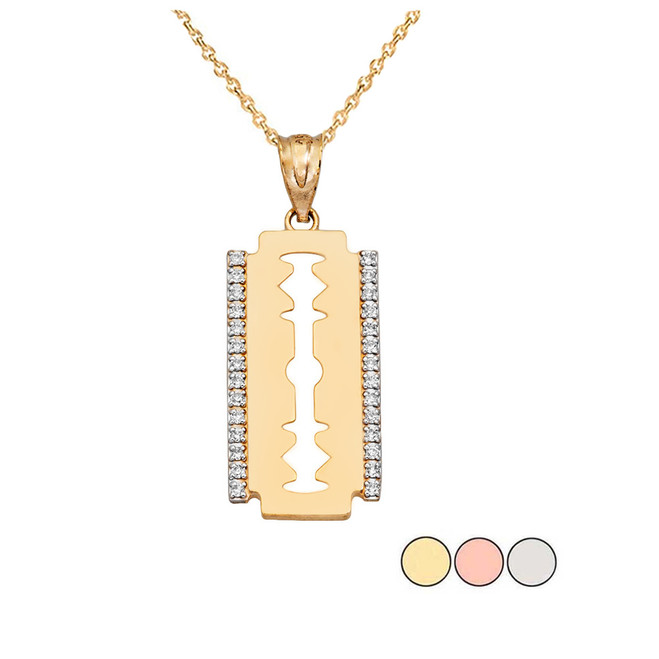 Diamond Razor Blade Pendant Necklace in Solid Gold (Yellow/Rose/White)