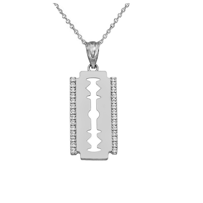 Razor Blade Pendant Necklace In Sterling Silver