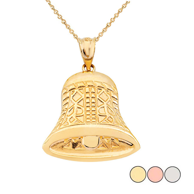 Antique Bell Pendant Necklace in Gold (Yellow/Rose/White)