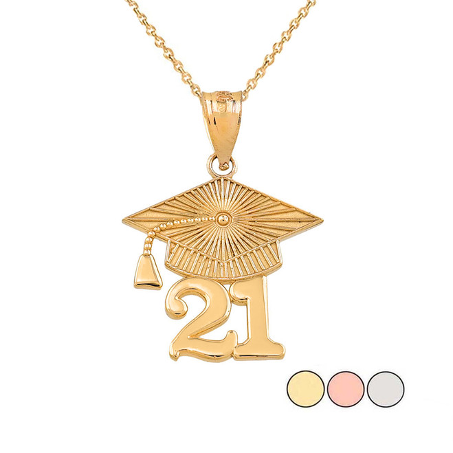 Gold 2021 Graduation Cap Pendant Necklace (Yellow/Rose/White)