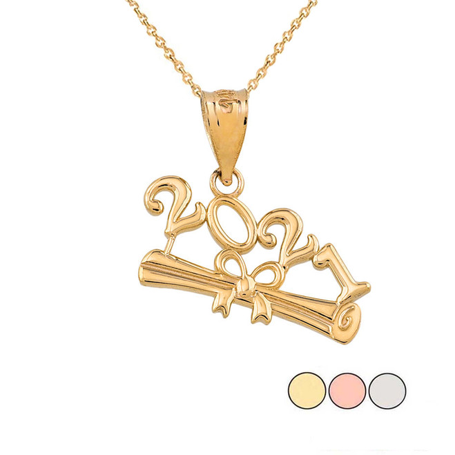 Class of 2021 Graduation Pendant Necklace in Gold (Yellow/Rose/White)