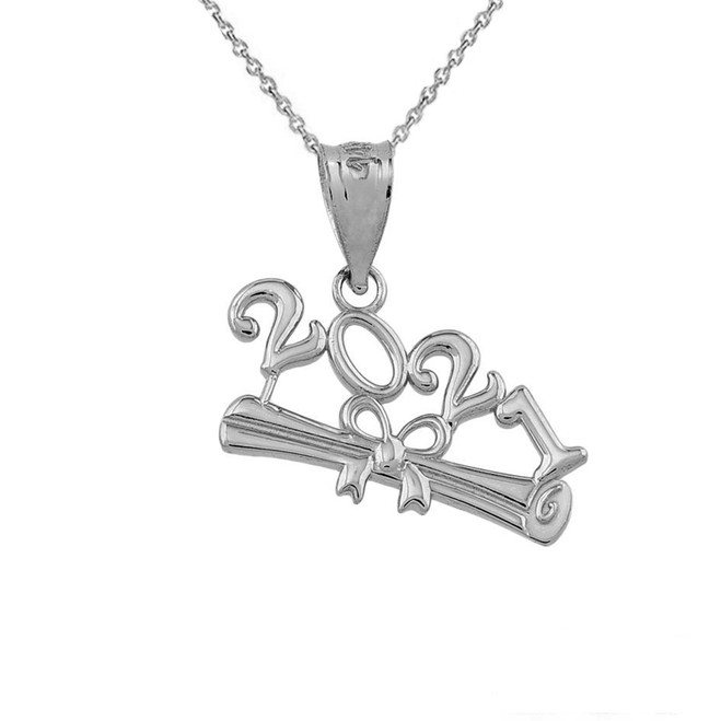 Class of 2021 Graduation Pendant Necklace in Sterling Silver