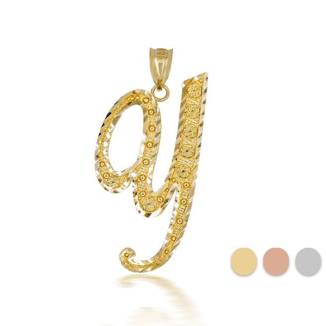 "Gold Cursive Initial Letter ""Y"" 10k/14k Pendant/Necklace  (Yellow/Rose/White)"