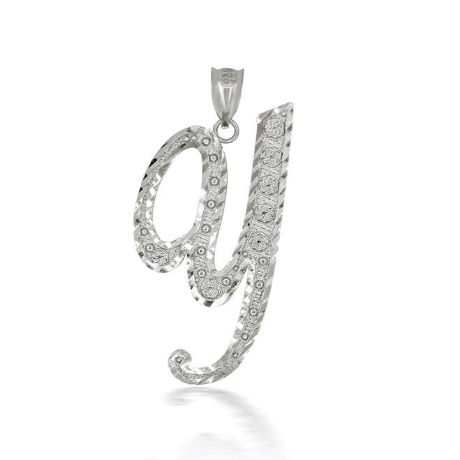 "Sterling Silver Cursive Initial Letter ""Y"" Pendant/Necklace"