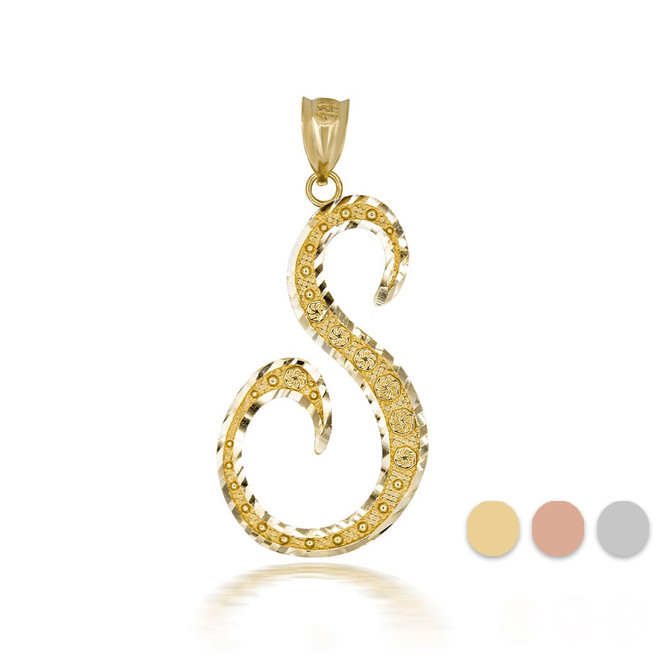 "Gold Cursive Initial Letter ""S"" 10k/14k Pendant/Necklace  (Yellow/Rose/White)"